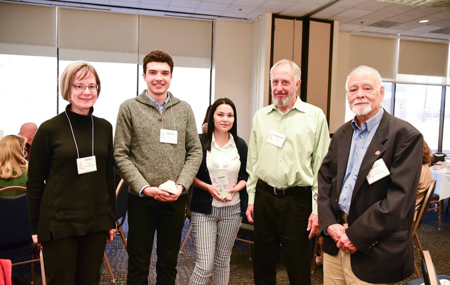 Undergrad scholarship recipients with Prof. Nagy, Larry Lunardi, and Emeritus Prof. Rodolfo