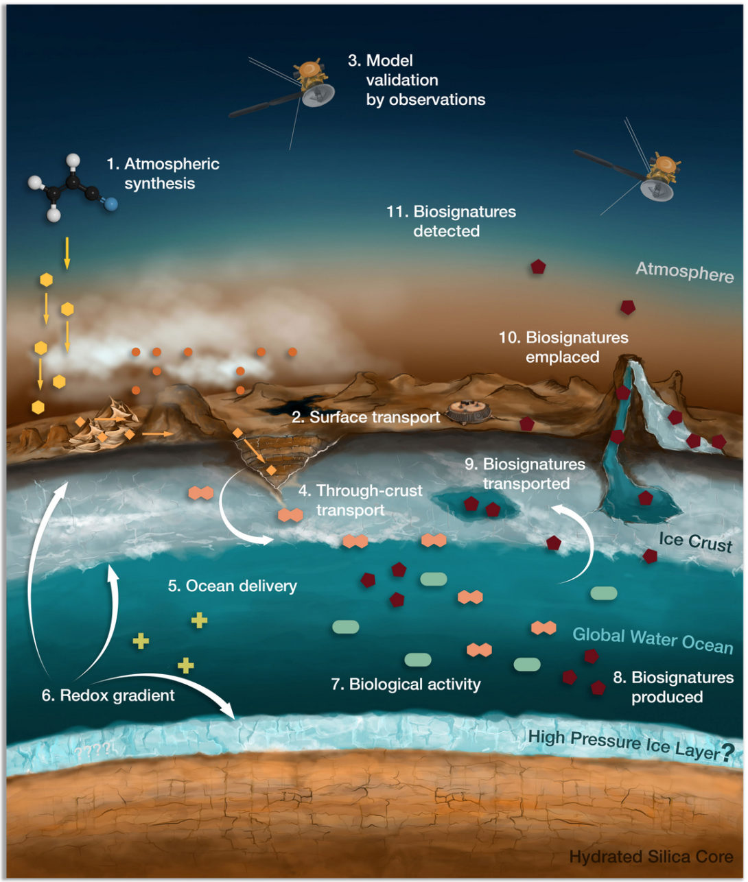 Cartoon digram of Titan's atmosphere, surface, and subsurface showing potential biosignatures
