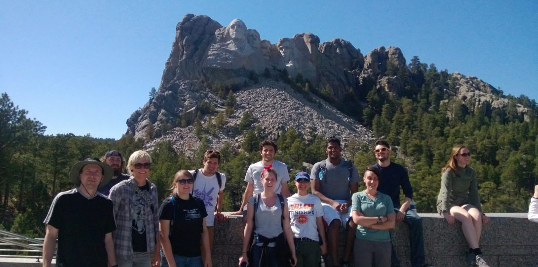 Group photo in front of Mt. Rushmore.