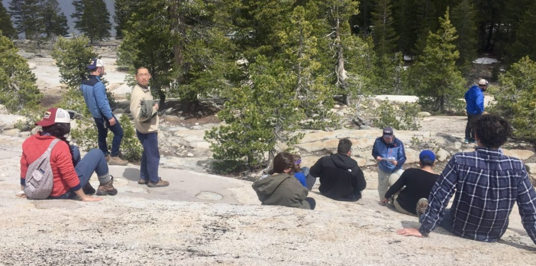 Students relaxing in Yosemite National Park.