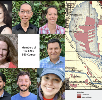 Portrait photos of students and professor along side a historic map with a modern overlay of Lake Calumet in Chicago