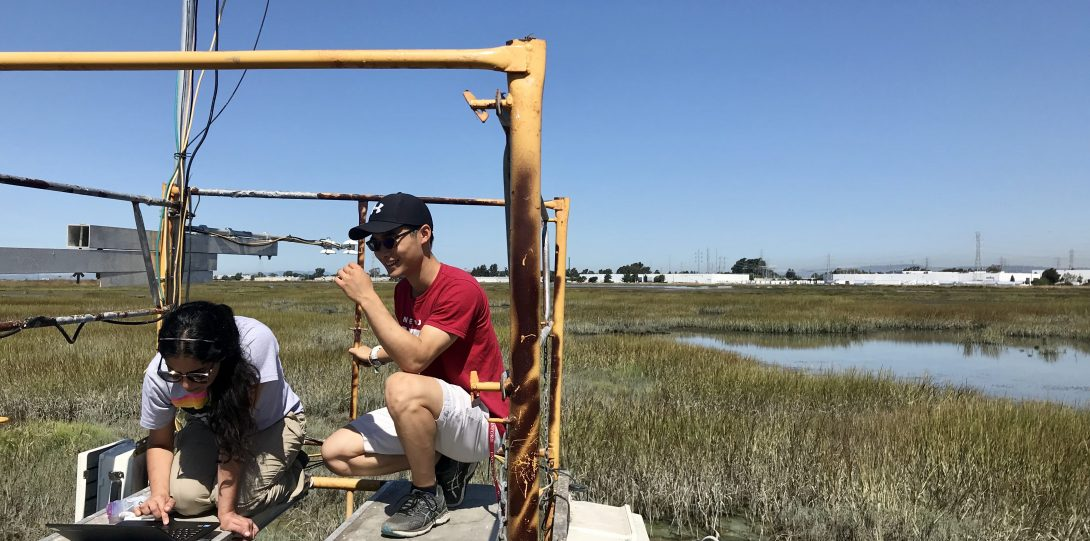 Two students in a marsh field downloading data.