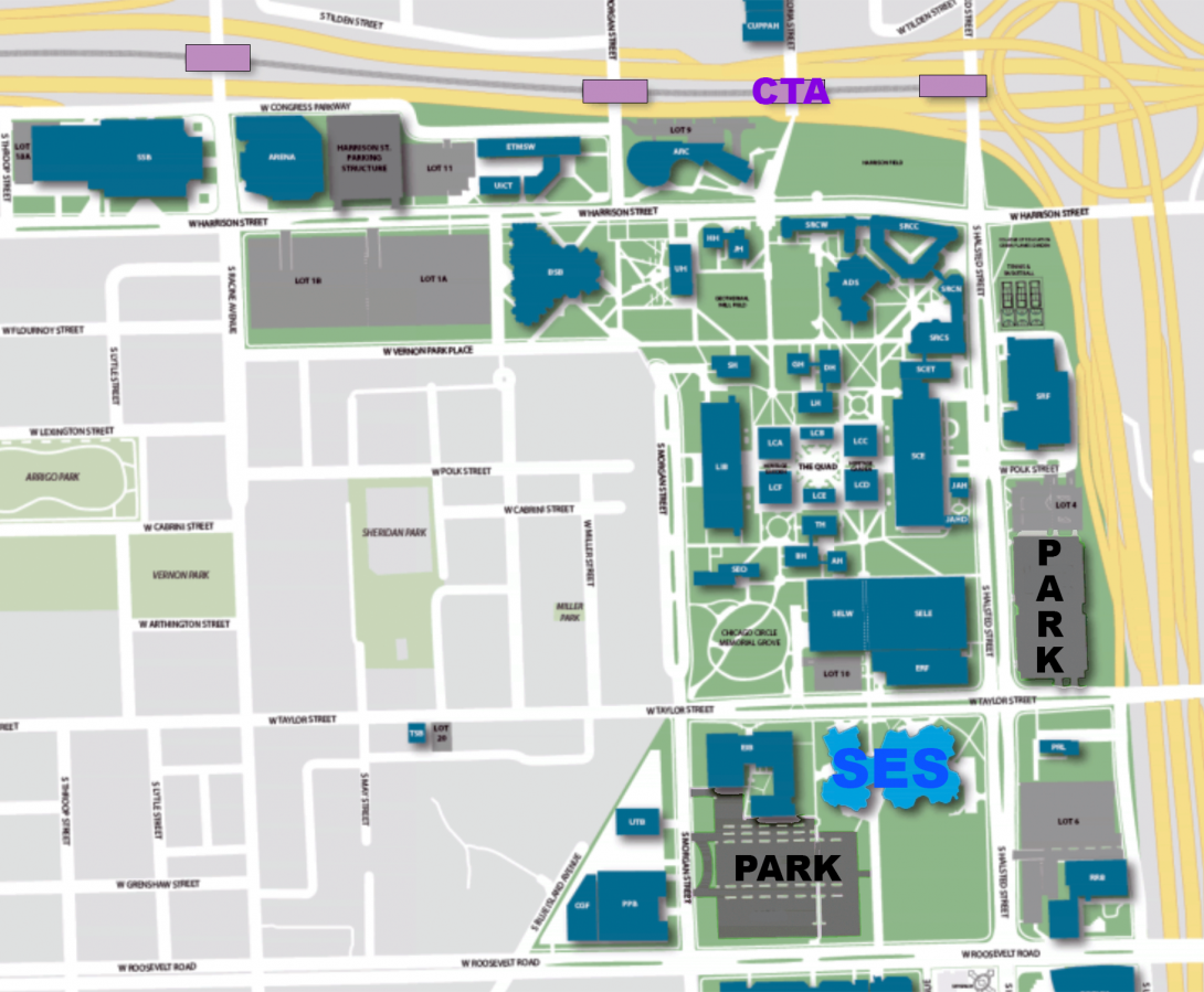 Street map showing general location of EaES department and UIC